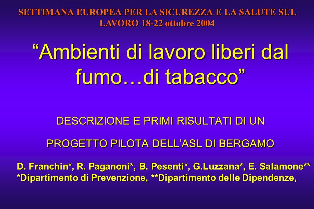 Ambienti di lavoro liberi dal fumo…di tabacco DESCRIZIONE E PRIMI RISULTATI DI UN PROGETTO PILOTA DELLASL DI BERGAMO D. Franchin*, R. Paganoni*, B. Pe