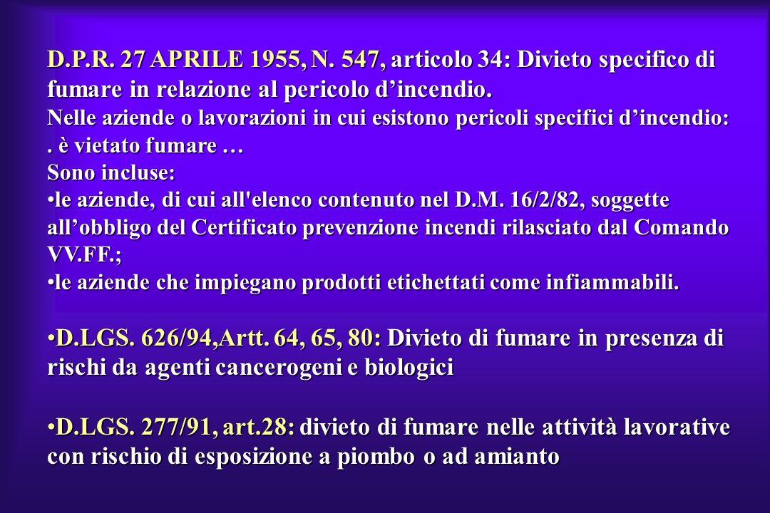 D.P.R. 27 APRILE 1955, N. 547, articolo 34: Divieto specifico di fumare in relazione al pericolo dincendio. Nelle aziende o lavorazioni in cui esiston