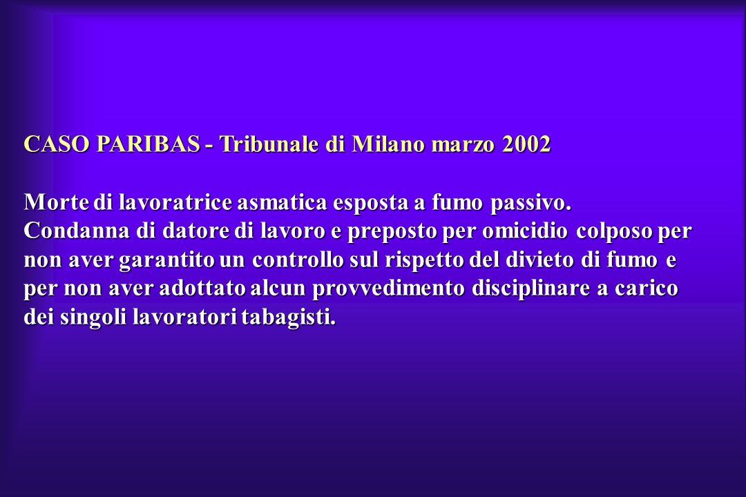 CASO PARIBAS - Tribunale di Milano marzo 2002 Morte di lavoratrice asmatica esposta a fumo passivo. Condanna di datore di lavoro e preposto per omicid