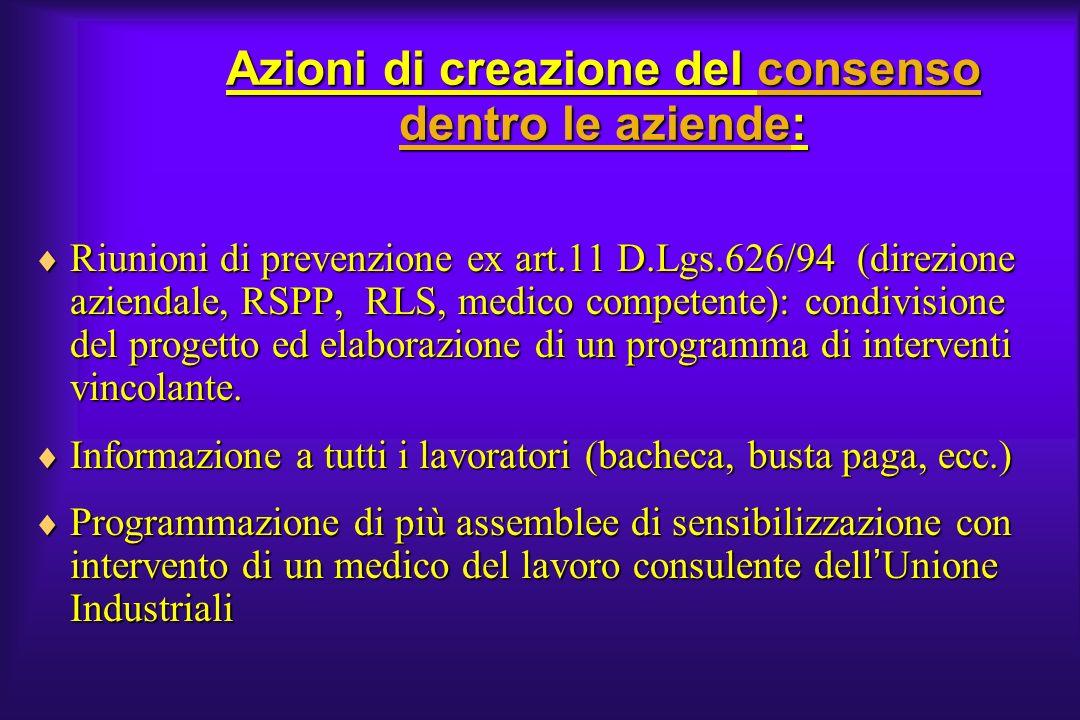 Azioni di creazione del consenso dentro le aziende: Riunioni di prevenzione ex art.11 D.Lgs.626/94 (direzione aziendale, RSPP, RLS, medico competente)