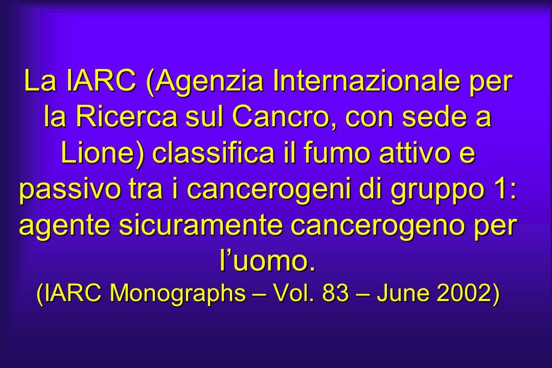 La IARC (Agenzia Internazionale per la Ricerca sul Cancro, con sede a Lione) classifica il fumo attivo e passivo tra i cancerogeni di gruppo 1: agente
