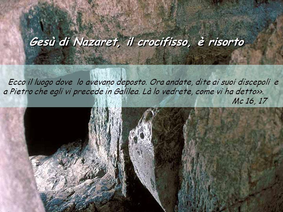 Gesù di Nazaret, il crocifisso, è risorto Gesù di Nazaret, il crocifisso, è risorto Ecco il luogo dove lo avevano deposto.