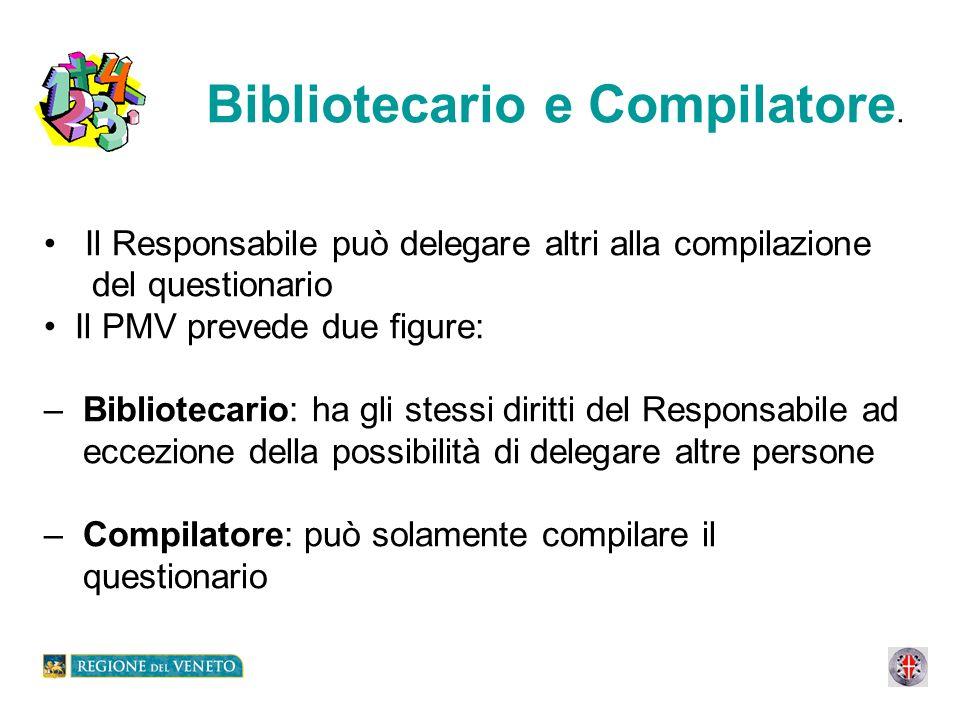 Bibliotecario e Compilatore. Il Responsabile può delegare altri alla compilazione del questionario Il PMV prevede due figure: – Bibliotecario: ha gli