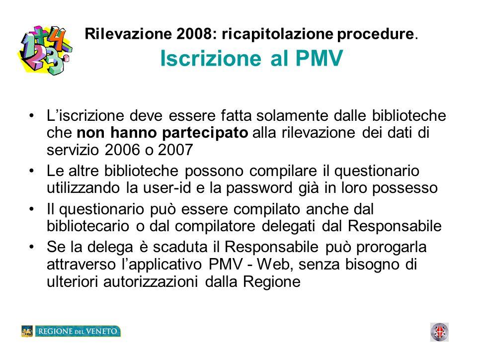 Rilevazione 2008: ricapitolazione procedure. Iscrizione al PMV Liscrizione deve essere fatta solamente dalle biblioteche che non hanno partecipato all