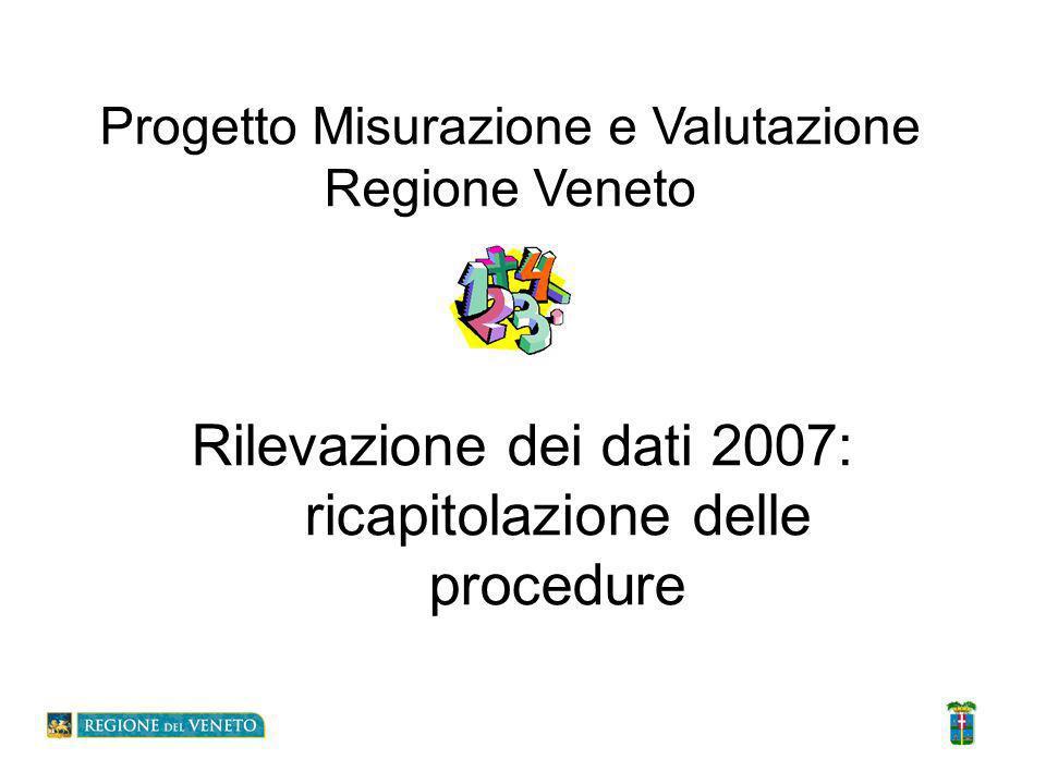 Rilevazione dei dati 2007: ricapitolazione delle procedure Progetto Misurazione e Valutazione Regione Veneto