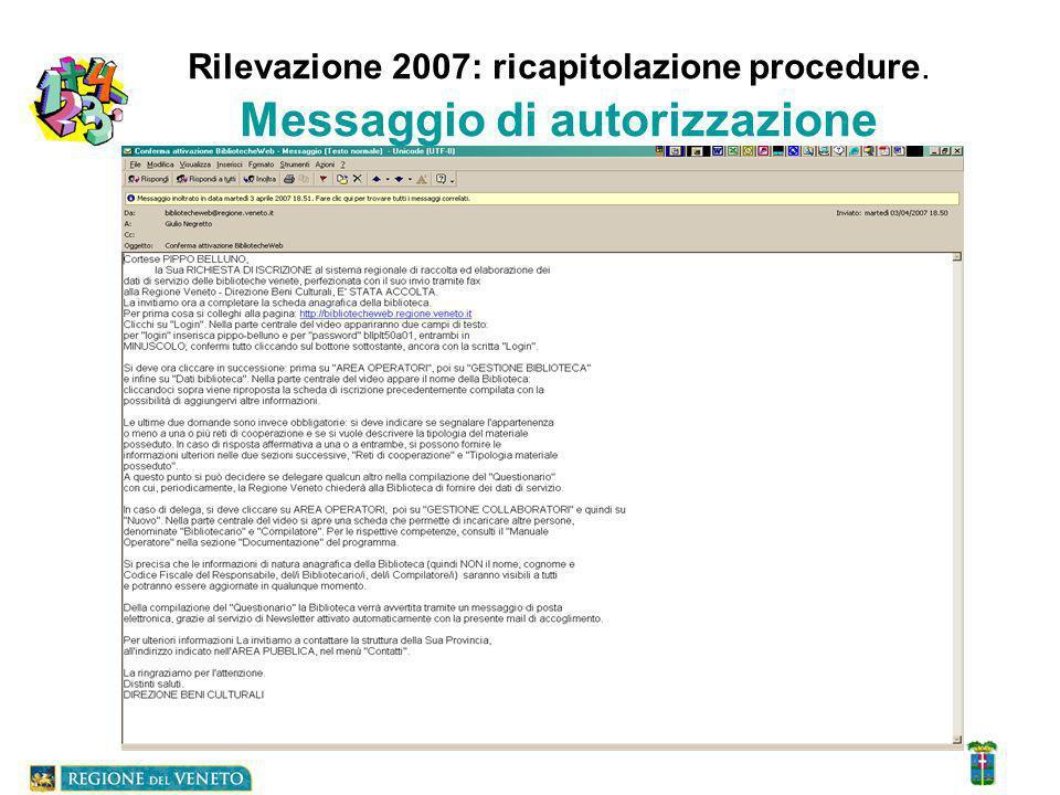 Rilevazione 2007: ricapitolazione procedure. Messaggio di autorizzazione