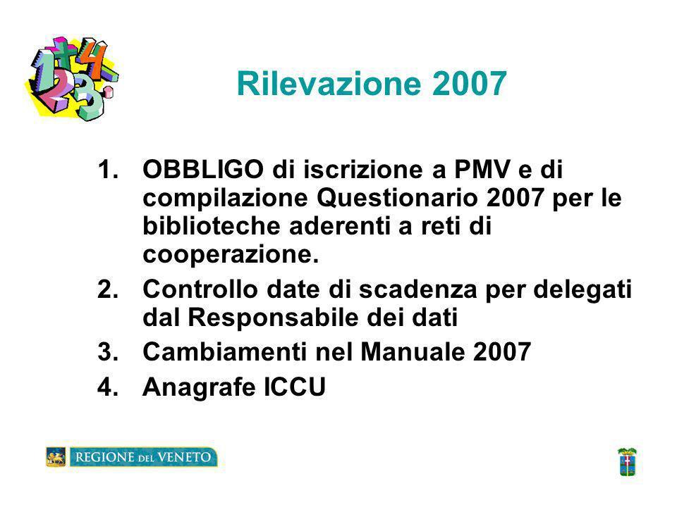 Rilevazione 2007 1.OBBLIGO di iscrizione a PMV e di compilazione Questionario 2007 per le biblioteche aderenti a reti di cooperazione.