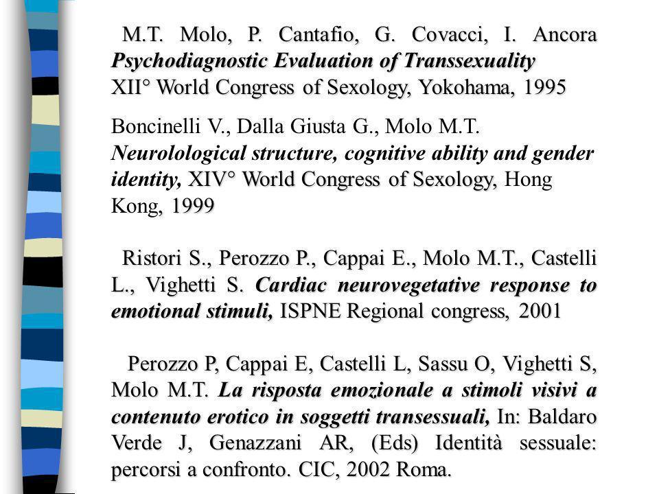 M.T. Molo, P. Cantafio, G. Covacci, I. Ancora Psychodiagnostic Evaluation of Transsexuality M.T.