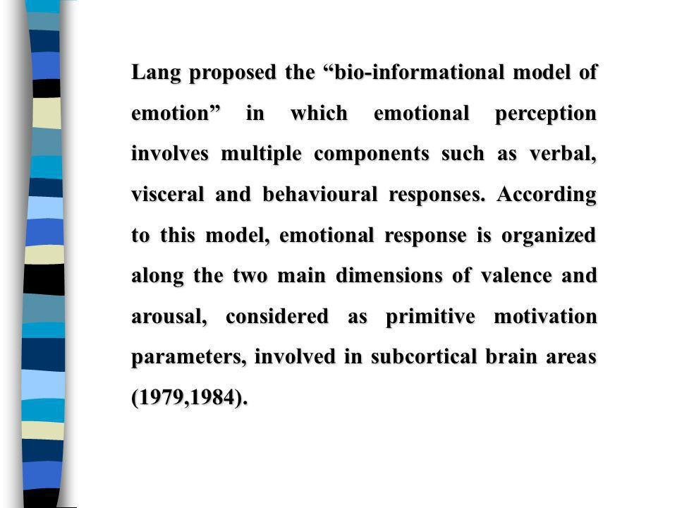 Lang proposed the bio-informational model of emotion in which emotional perception involves multiple components such as verbal, visceral and behavioural responses.