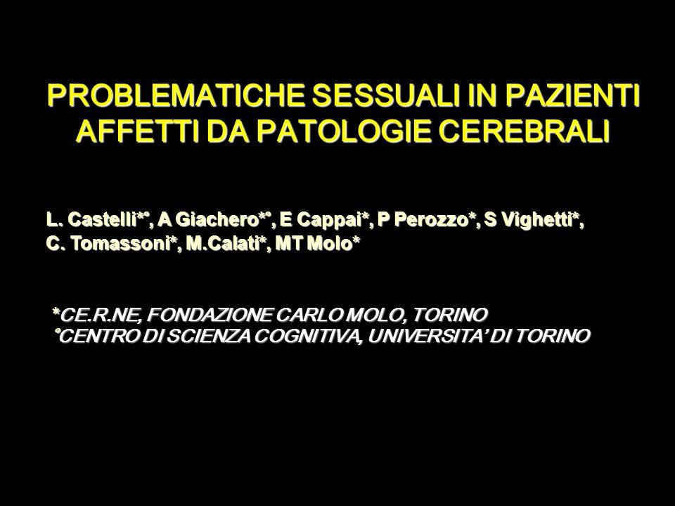 Molte patologie neurologiche hanno notevoli ricadute sulla sessualità e, in generale, sulla vita di coppia Le problematiche sessuali in soggetti con patologie neurologiche sono state spesso trascurate Scarsa attenzione sia da parte dei clinici, sia da parte dei ricercatori INTRODUZIONE