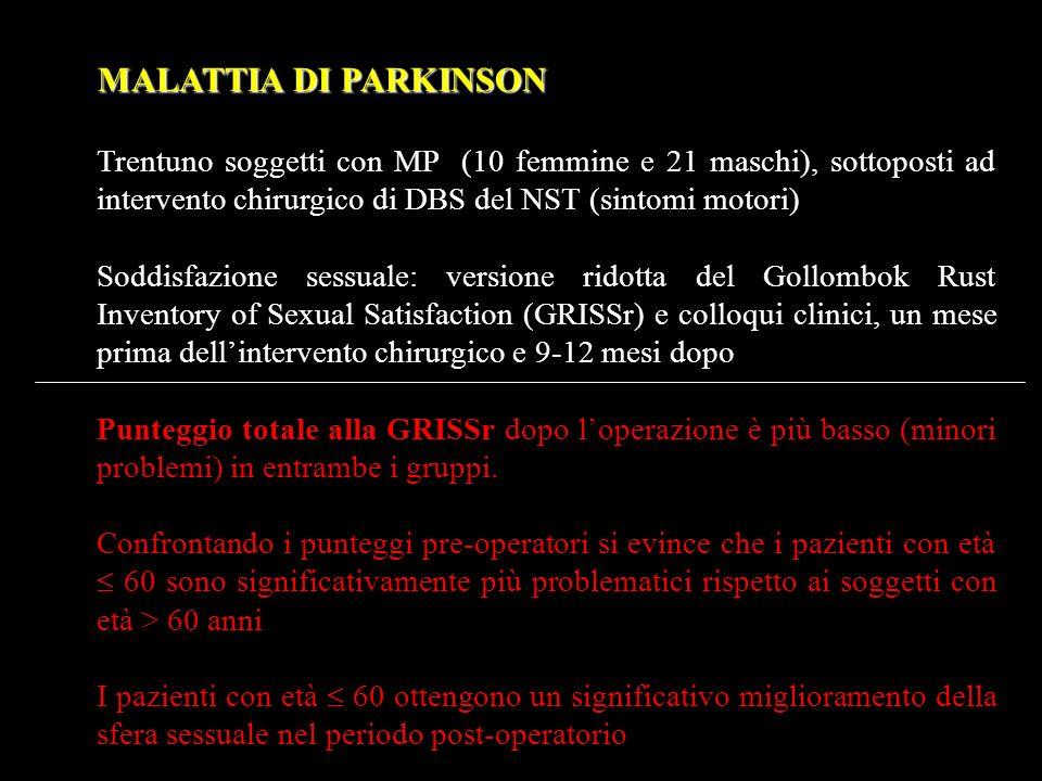 MALATTIA DI PARKINSON Trentuno soggetti con MP (10 femmine e 21 maschi), sottoposti ad intervento chirurgico di DBS del NST (sintomi motori) Soddisfaz