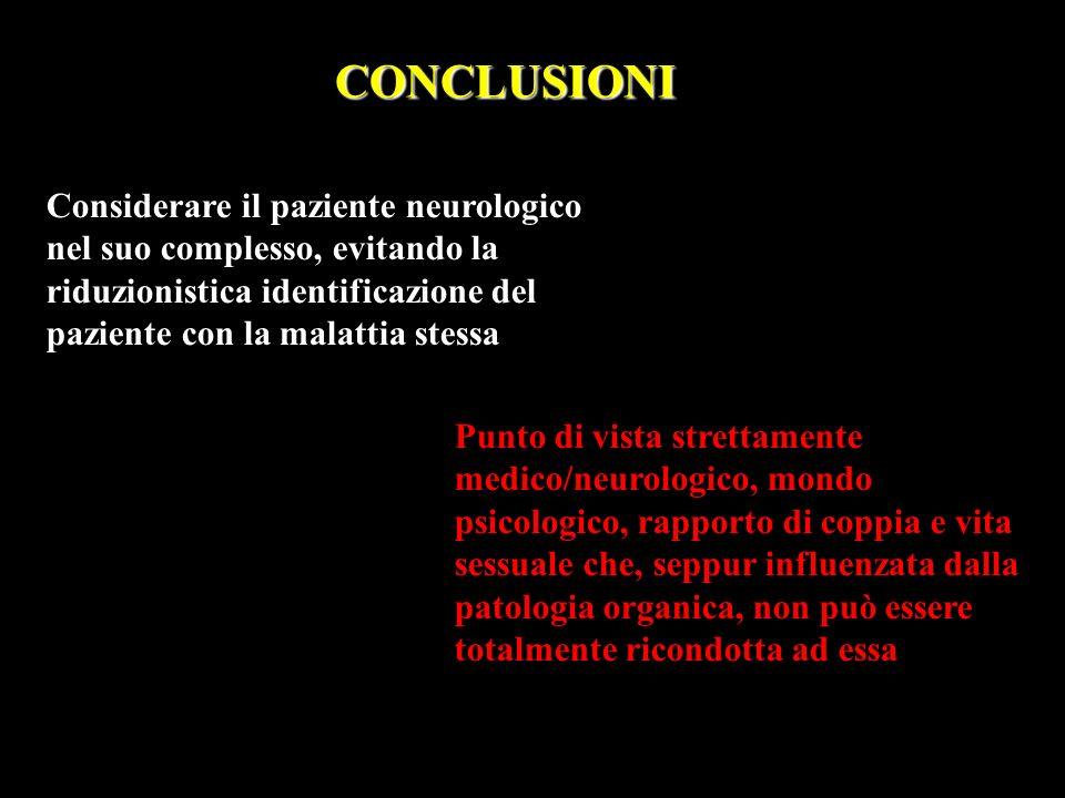 Considerare il paziente neurologico nel suo complesso, evitando la riduzionistica identificazione del paziente con la malattia stessa CONCLUSIONI Punt