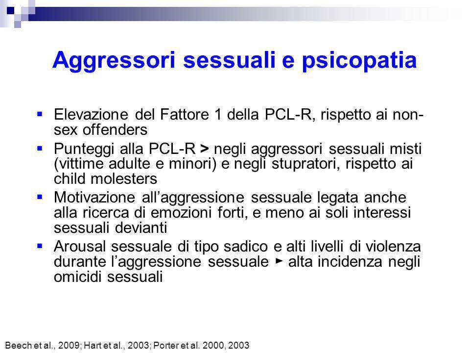 Aggressori sessuali e psicopatia Elevazione del Fattore 1 della PCL-R, rispetto ai non- sex offenders Punteggi alla PCL-R > negli aggressori sessuali