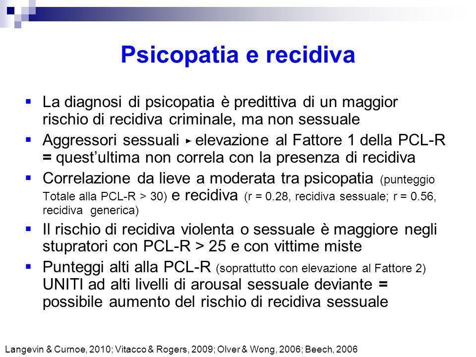 Psicopatia e recidiva Langevin & Curnoe, 2010; Vitacco & Rogers, 2009; Olver & Wong, 2006; Beech, 2006 La diagnosi di psicopatia è predittiva di un ma