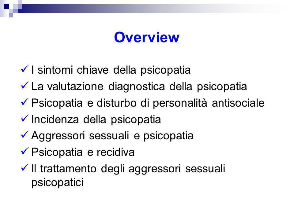 Overview I sintomi chiave della psicopatia La valutazione diagnostica della psicopatia Psicopatia e disturbo di personalità antisociale Incidenza dell
