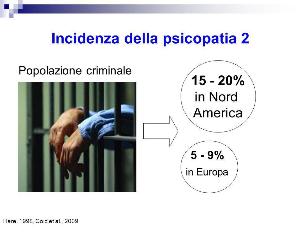 Incidenza della psicopatia 2 Popolazione criminale 15 - 20% in Nord America 5 - 9% in Europa Hare, 1998, Coid et al., 2009
