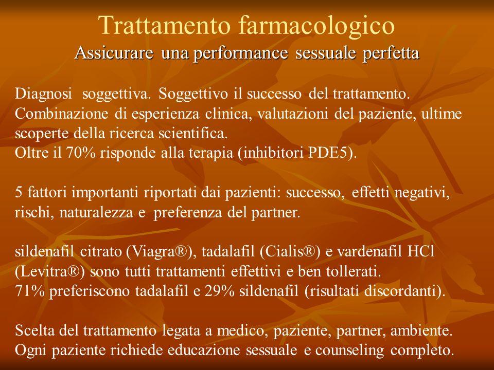 Trattamento farmacologico Assicurare una performance sessuale perfetta Diagnosi soggettiva. Soggettivo il successo del trattamento. Combinazione di es