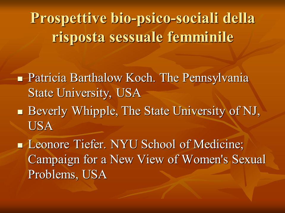 Prospettive bio-psico-sociali della risposta sessuale femminile Patricia Barthalow Koch. The Pennsylvania State University, USA Patricia Barthalow Koc