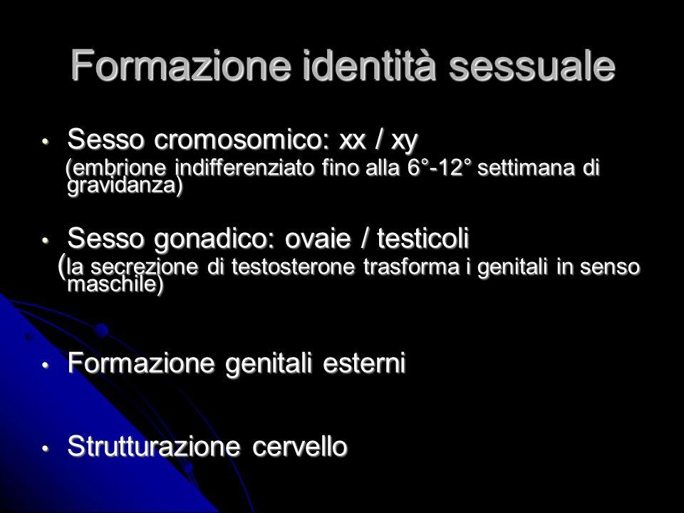 Formazione identità sessuale Sesso cromosomico: xx / xy Sesso cromosomico: xx / xy (embrione indifferenziato fino alla 6°-12° settimana di gravidanza) (embrione indifferenziato fino alla 6°-12° settimana di gravidanza) Sesso gonadico: ovaie / testicoli Sesso gonadico: ovaie / testicoli ( la secrezione di testosterone trasforma i genitali in senso maschile) ( la secrezione di testosterone trasforma i genitali in senso maschile) Formazione genitali esterni Formazione genitali esterni Strutturazione cervello Strutturazione cervello