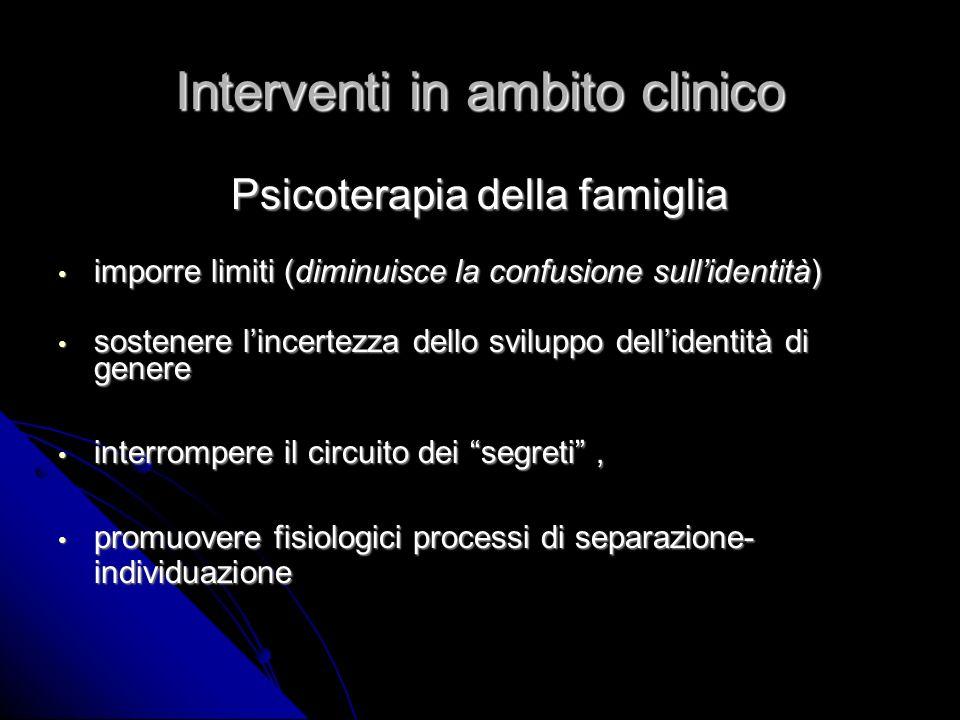 Interventi in ambito clinico Psicoterapia della famiglia imporre limiti (diminuisce la confusione sullidentità) imporre limiti (diminuisce la confusio