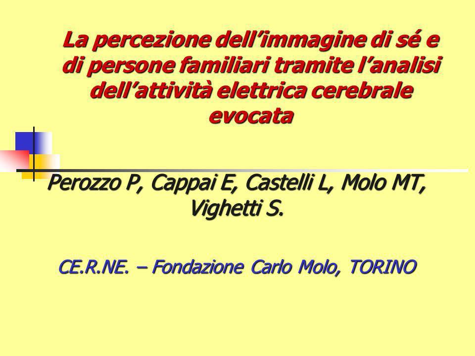 La percezione dellimmagine di sé e di persone familiari tramite lanalisi dellattività elettrica cerebrale evocata Perozzo P, Cappai E, Castelli L, Molo MT, Vighetti S.