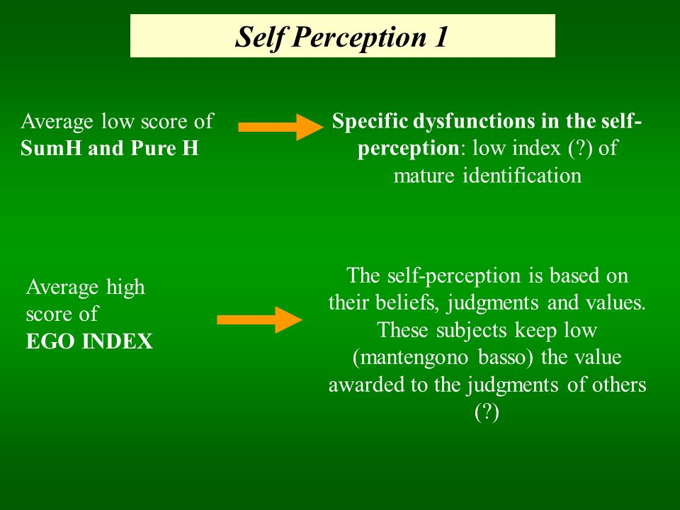 Self Perception 1 Specific dysfunctions in the self- perception: low index (?) of mature identification Average high score of EGO INDEX Average low sc