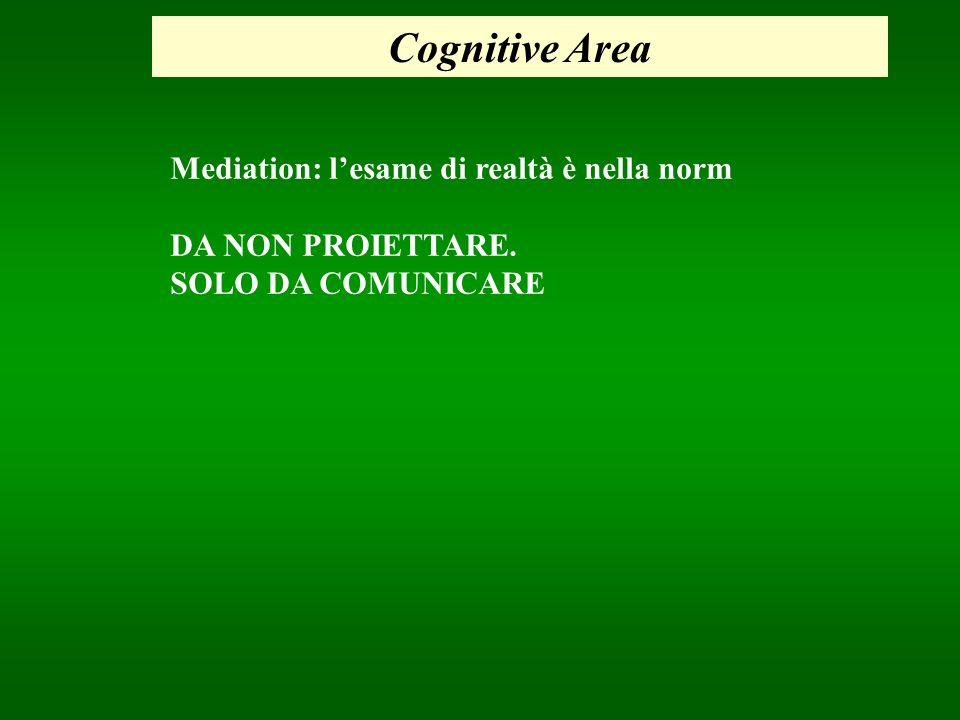 Cognitive Area Mediation: lesame di realtà è nella norm DA NON PROIETTARE. SOLO DA COMUNICARE
