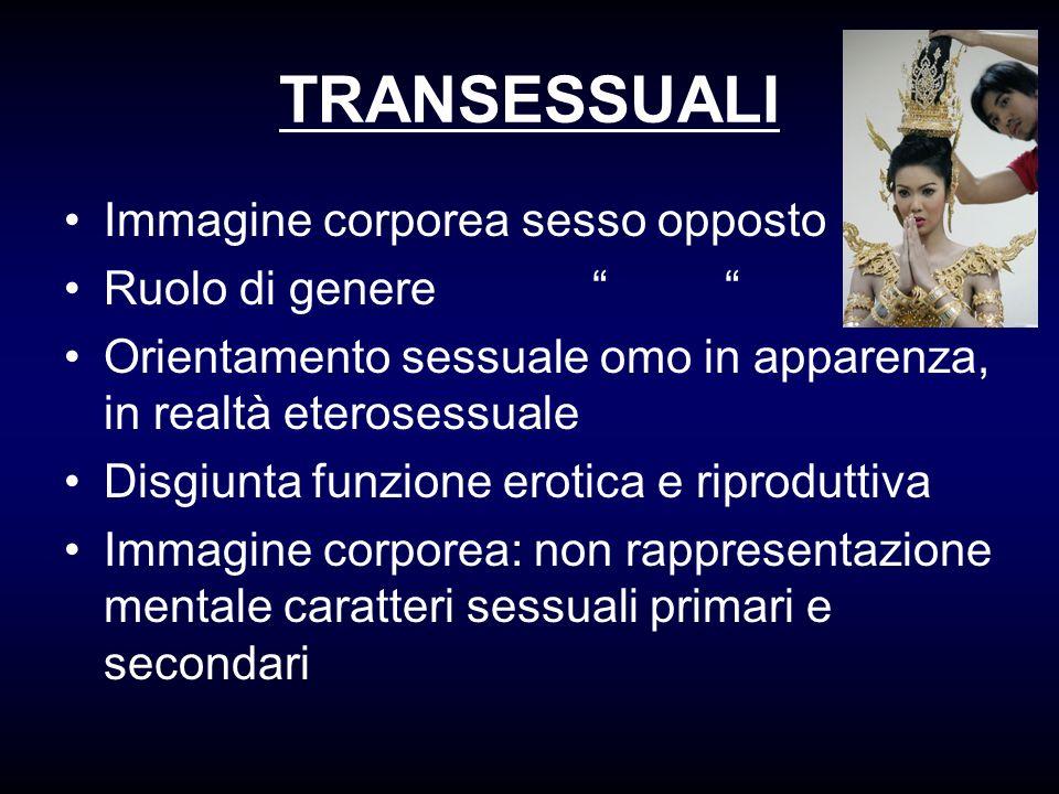 TRANSESSUALI Immagine corporea sesso opposto Ruolo di genere Orientamento sessuale omo in apparenza, in realtà eterosessuale Disgiunta funzione erotic