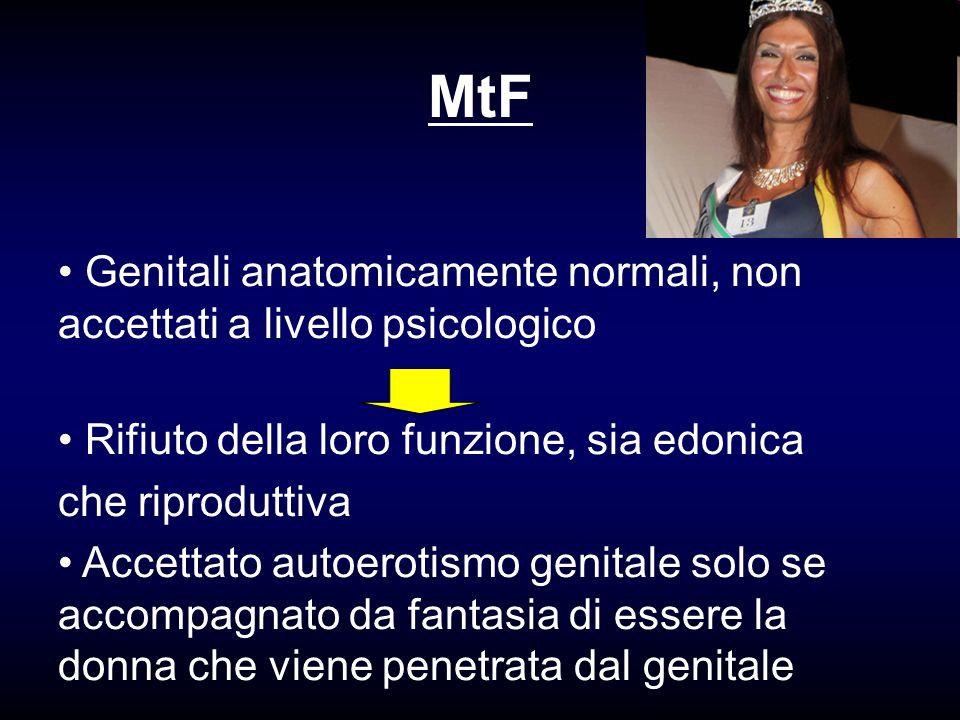 MtF Genitali anatomicamente normali, non accettati a livello psicologico Rifiuto della loro funzione, sia edonica che riproduttiva Accettato autoeroti