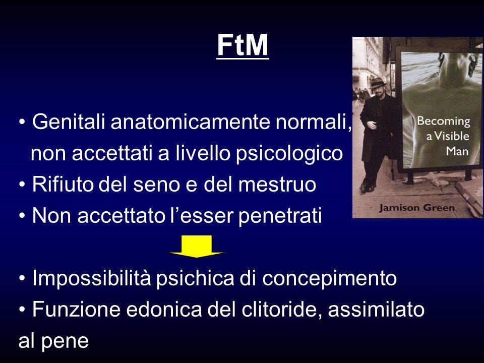 FtM Genitali anatomicamente normali, non accettati a livello psicologico Rifiuto del seno e del mestruo Non accettato lesser penetrati Impossibilità p