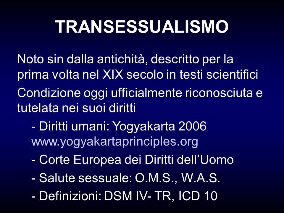 EVENTI SIGNIFICATIVI George/Christine Jorgensen (1951) Harry Benjamin: The Transsexual Phenomenon (1966) Harry Benjamin International Gender Dysphoria Association (1979), attualmente WPATH The Standards of Care for Gender Identity Disorders, Sixth Version, Febbraio 2001