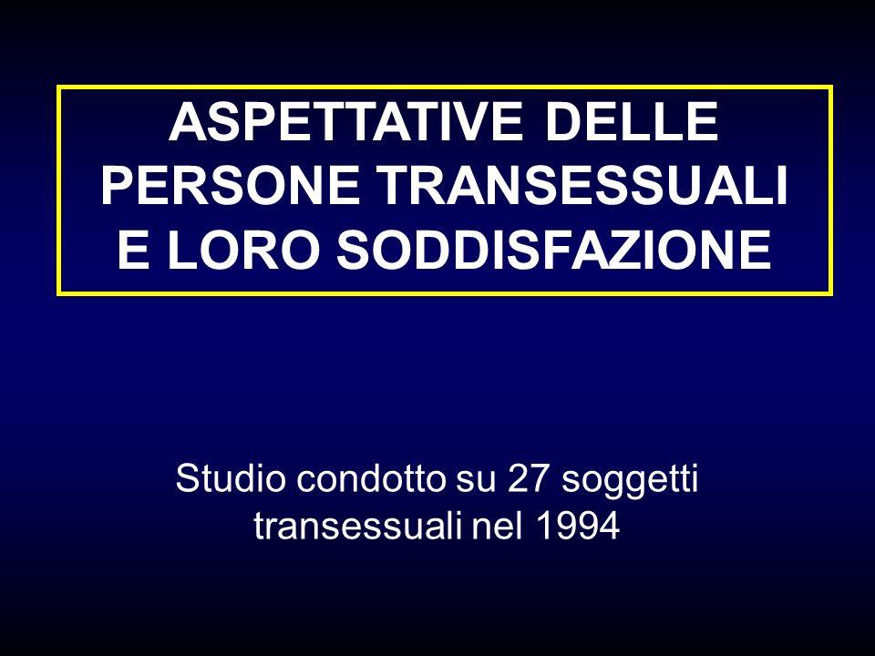 ASPETTATIVE DELLE PERSONE TRANSESSUALI E LORO SODDISFAZIONE Studio condotto su 27 soggetti transessuali nel 1994