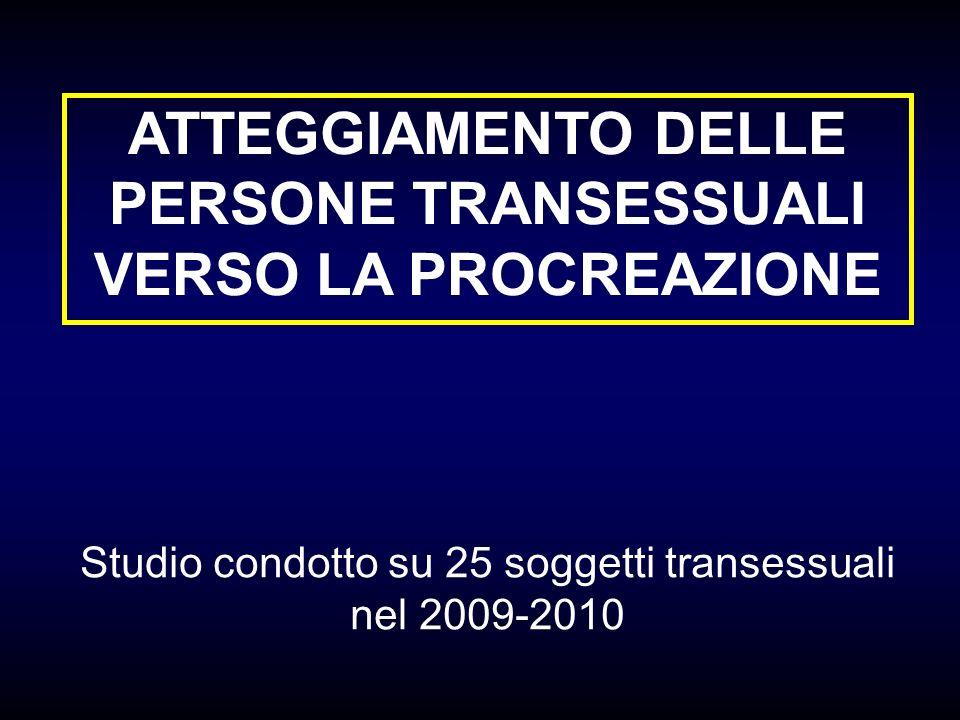 ATTEGGIAMENTO DELLE PERSONE TRANSESSUALI VERSO LA PROCREAZIONE Studio condotto su 25 soggetti transessuali nel 2009-2010