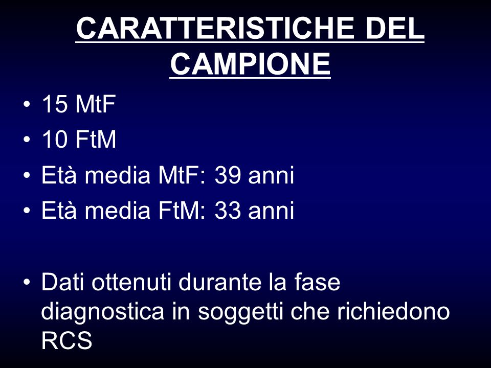 CARATTERISTICHE DEL CAMPIONE 15 MtF 10 FtM Età media MtF: 39 anni Età media FtM: 33 anni Dati ottenuti durante la fase diagnostica in soggetti che ric