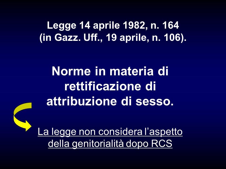 Norme in materia di rettificazione di attribuzione di sesso. La legge non considera laspetto della genitorialità dopo RCS Legge 14 aprile 1982, n. 164