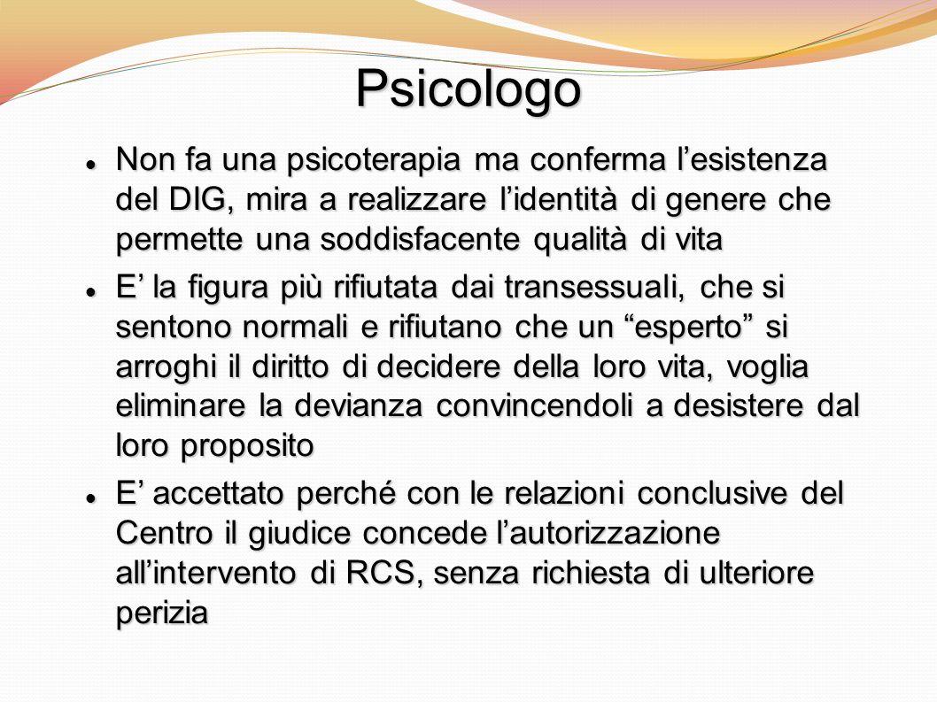 Psicologo Non fa una psicoterapia ma conferma lesistenza del DIG, mira a realizzare lidentità di genere che permette una soddisfacente qualità di vita