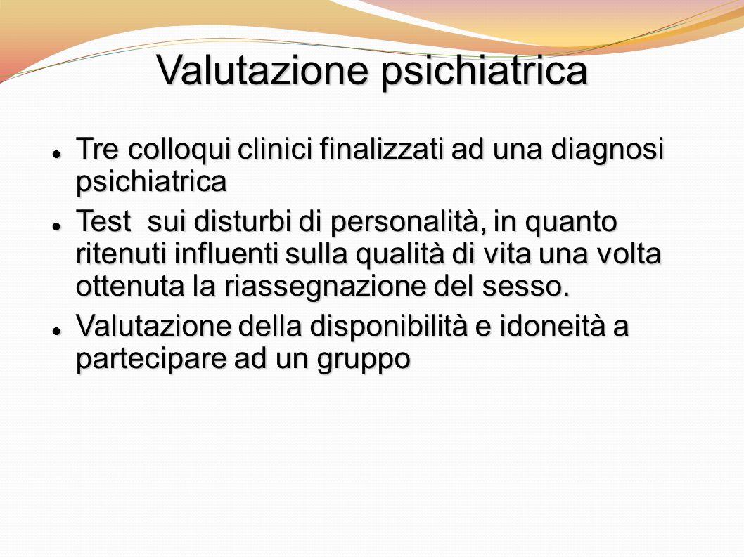 Valutazione psichiatrica Tre colloqui clinici finalizzati ad una diagnosi psichiatrica Tre colloqui clinici finalizzati ad una diagnosi psichiatrica T