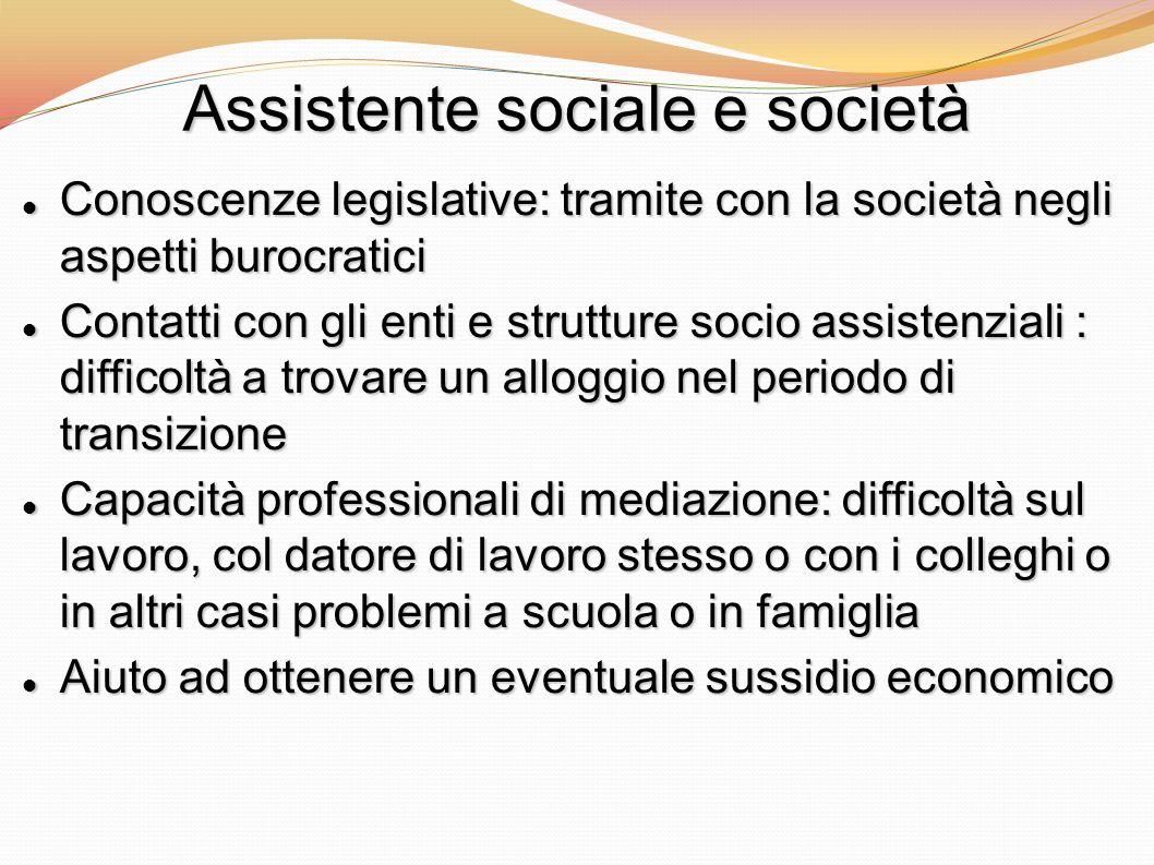 Assistente sociale e società Conoscenze legislative: tramite con la società negli aspetti burocratici Conoscenze legislative: tramite con la società n
