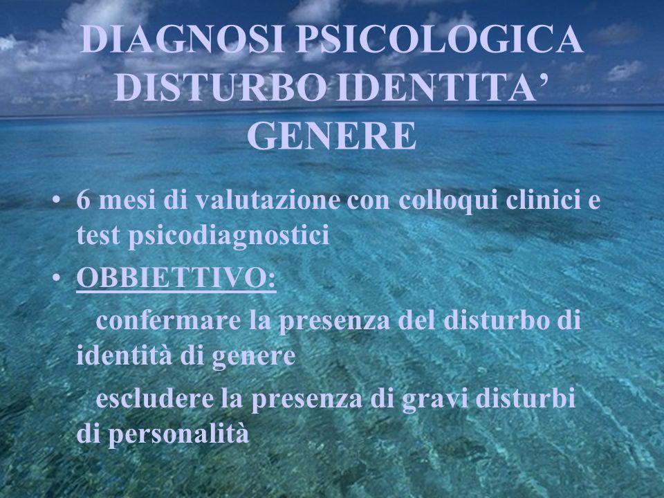 DIAGNOSI PSICOLOGICA DISTURBO IDENTITA GENERE 6 mesi di valutazione con colloqui clinici e test psicodiagnostici OBBIETTIVO: confermare la presenza de
