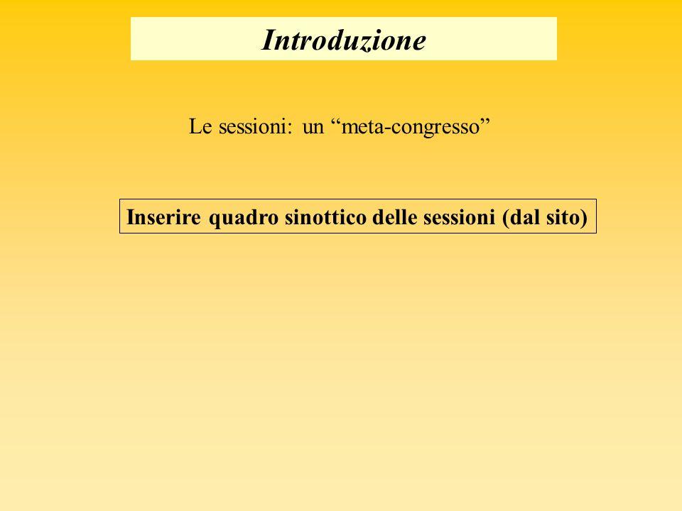 Introduzione Le sessioni: un meta-congresso Inserire quadro sinottico delle sessioni (dal sito)
