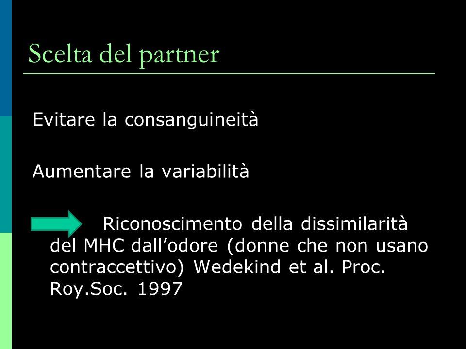 Scelta del partner Evitare la consanguineità Aumentare la variabilità Riconoscimento della dissimilarità del MHC dallodore (donne che non usano contraccettivo) Wedekind et al.