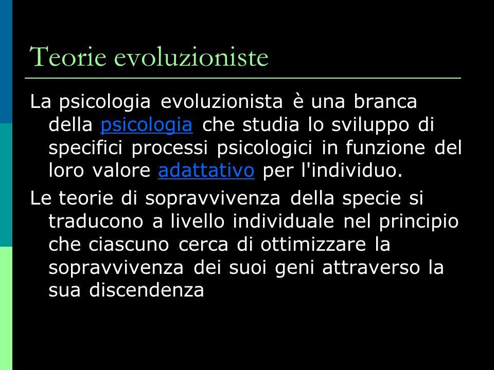 Teorie evoluzioniste La psicologia evoluzionista è una branca della psicologia che studia lo sviluppo di specifici processi psicologici in funzione del loro valore adattativo per l individuo.psicologiaadattativo Le teorie di sopravvivenza della specie si traducono a livello individuale nel principio che ciascuno cerca di ottimizzare la sopravvivenza dei suoi geni attraverso la sua discendenza