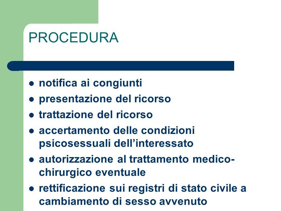 PROCEDURA notifica ai congiunti presentazione del ricorso trattazione del ricorso accertamento delle condizioni psicosessuali dellinteressato autorizz