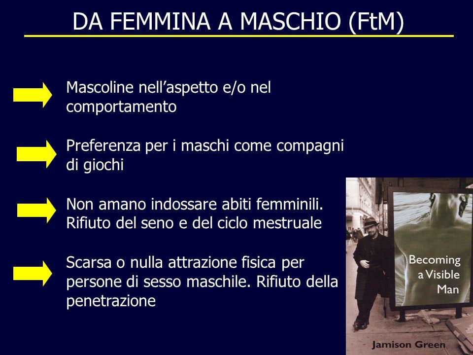 DA FEMMINA A MASCHIO (FtM) Mascoline nellaspetto e/o nel comportamento Preferenza per i maschi come compagni di giochi Non amano indossare abiti femmi