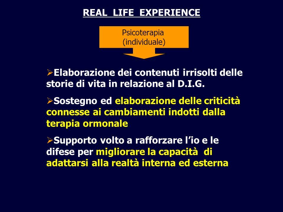 REAL LIFE EXPERIENCE Psicoterapia (individuale) Elaborazione dei contenuti irrisolti delle storie di vita in relazione al D.I.G. Sostegno ed elaborazi