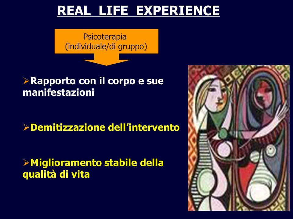 REAL LIFE EXPERIENCE Rapporto con il corpo e sue manifestazioni Demitizzazione dellintervento Miglioramento stabile della qualità di vita Psicoterapia (individuale/di gruppo)