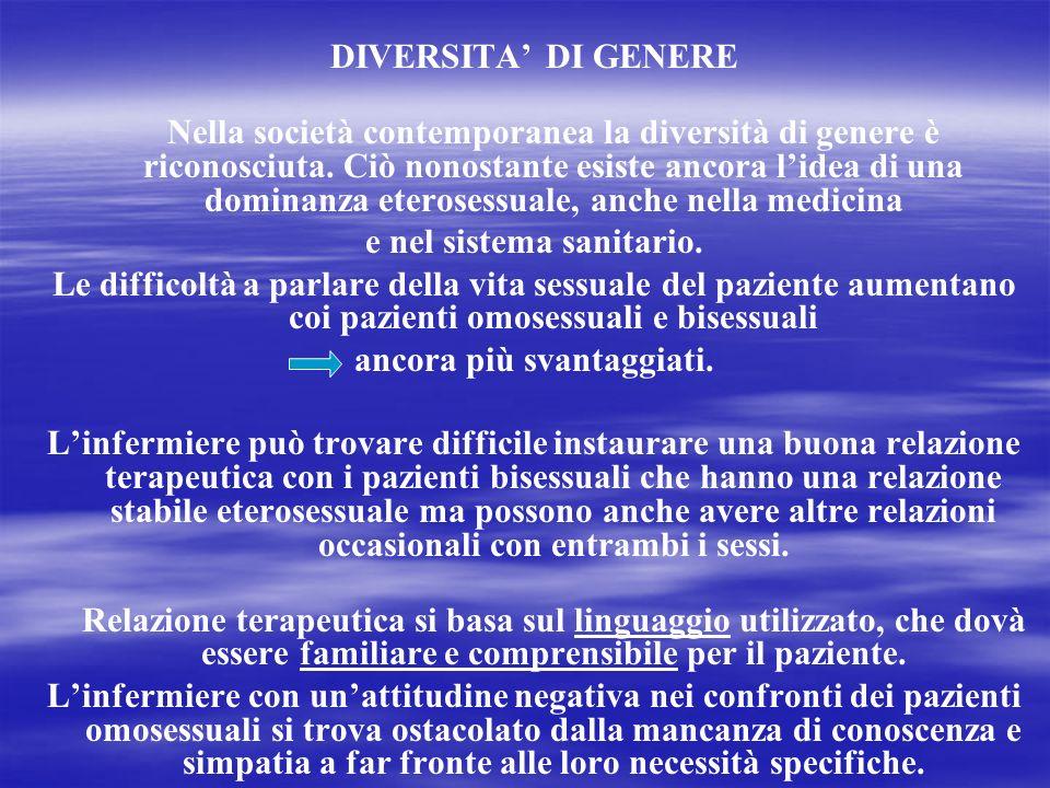DIVERSITA DI GENERE Nella società contemporanea la diversità di genere è riconosciuta. Ciò nonostante esiste ancora lidea di una dominanza eterosessua