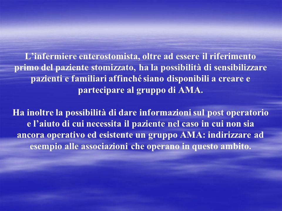 Linfermiere enterostomista, oltre ad essere il riferimento primo del paziente stomizzato, ha la possibilità di sensibilizzare pazienti e familiari affinché siano disponibili a creare e partecipare al gruppo di AMA.