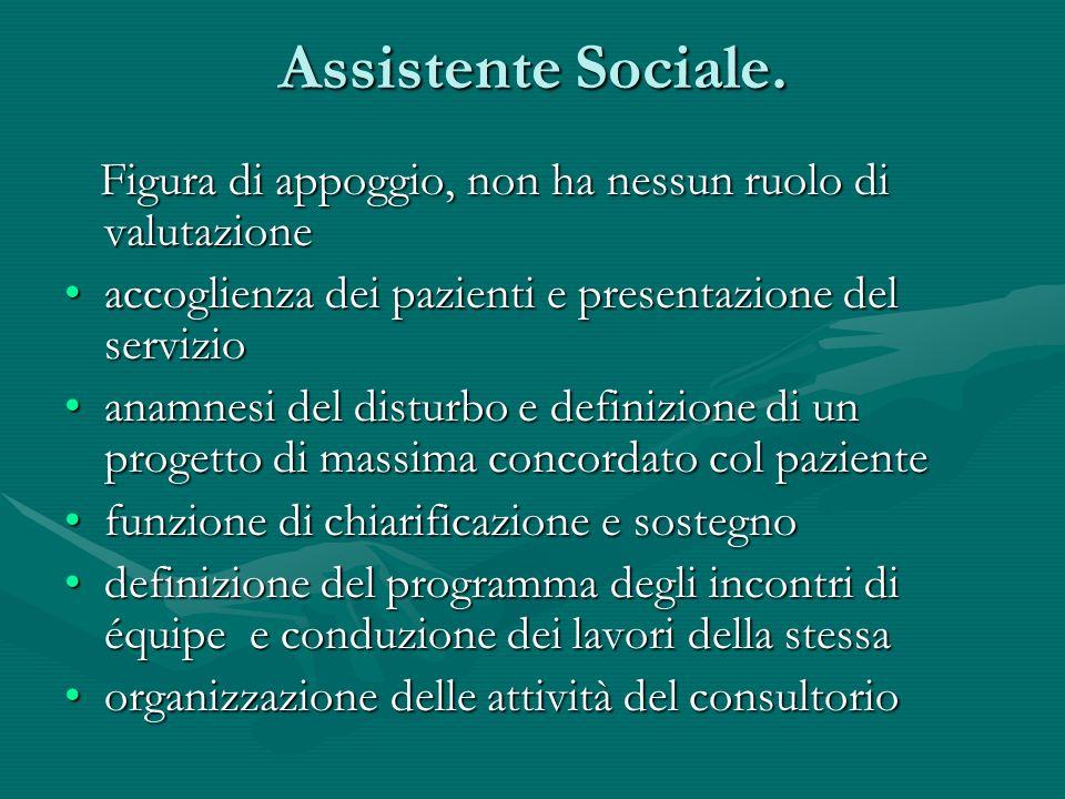 Assistente Sociale. Figura di appoggio, non ha nessun ruolo di valutazione Figura di appoggio, non ha nessun ruolo di valutazione accoglienza dei pazi