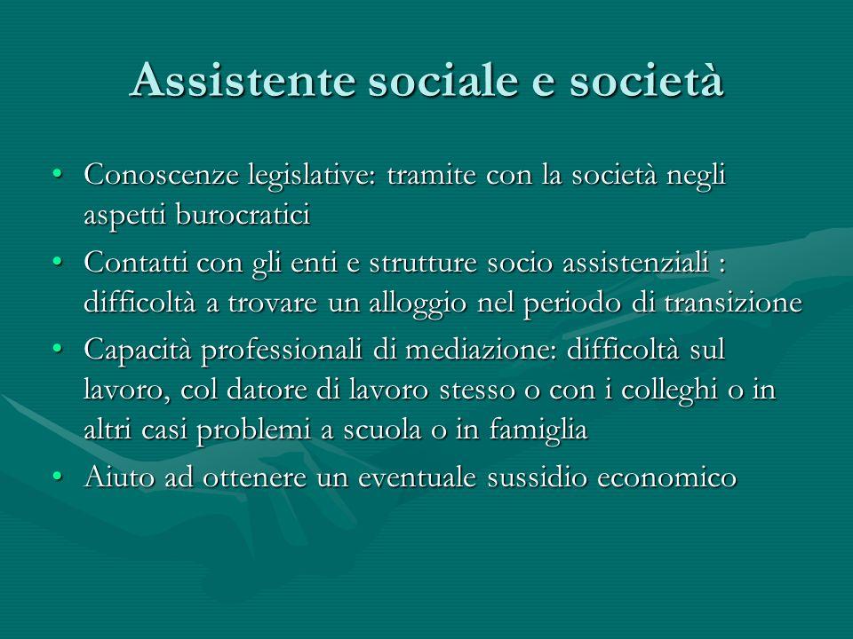 Assistente sociale e società Conoscenze legislative: tramite con la società negli aspetti burocraticiConoscenze legislative: tramite con la società ne